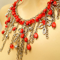Red - Red jewelry - Bib necklace - Handmade jewelry - Polymer necklace earrings set