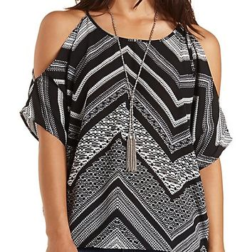 Tie-Back Printed Cold Shoulder Top by Charlotte Russe - Black Combo