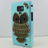 Blue Hard Case Cover With Antique Brass Cute Owl for Samsung Galaxy S2 S 2 II i9100