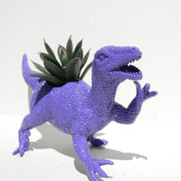 Dinosaur Planter Raptor in Royal Purple Geek Home Decor