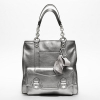 COACH POPPY LEATHER PUSHLOCK TOTE, Style #F17924, Sv/Anthracite