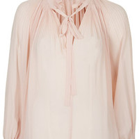 High Neck Pleated Pussybow Top - Tops - Clothing