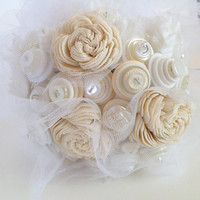 Shabby Chic Button Bouquet, Alternative bouquet, nontraditional Wedding, Roses