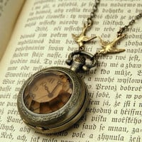 two swallows Amber Glass Pocket Watch Necklace