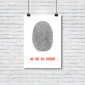 We are all unique poster, Fingerprint, Art print, Art Posters, Wall decor, Wall art