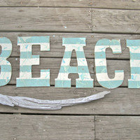 Large Beach House Sign Shabby CHIC Weathered Aqua Cottage Seaside Coastal Home Decor