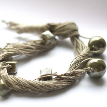 Ceramic  and Linen Olive Green Necklace