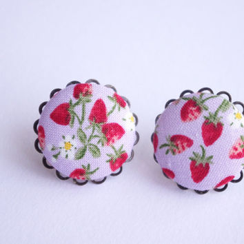 Studs Post pink strawberry Fabric Button earrings - medium size