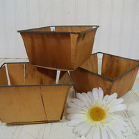 Vintage Set of 3 Wooden Berry Baskets - Farm House Fresh Finds for Storage - 3 Rustic Sea Foam Green Metal Trimmed Organizer Bins Collection