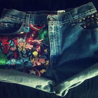 High Waist Levi The AVENGERS Marvel Cuffed Studded Shorts