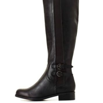 City Classified Elastic-Gored Riding Boots by Charlotte Russe - Black