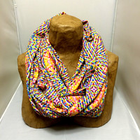 Colorful Knit Scarf - OMG - Chunky Infinity Scarf, Jersey Circle Scarf, Loop Scarf, Eternity Scarf, Geometric Scarf
