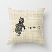 Bear Nursery and Childrens Home Decor Custom Color Throw Pillow Cover Handlettered Illustrated Burlap Style Decorative Throw Pillow