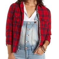 Serape-Trim Button-Up Plaid Top by Charlotte Russe - Red Combo