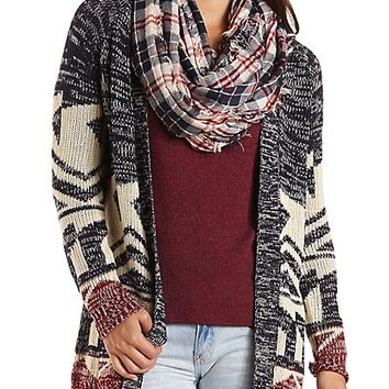 Marled Aztec Cardigan Sweater by Charlotte Russe - Navy Combo