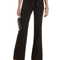 Ribbon-Belted Wide Leg Trousers by Charlotte Russe - Black