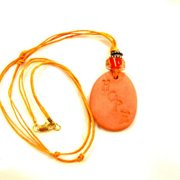 "Personal Essential Oil Clay Diffuser Necklace Natural Clay Pendant with Colorful Bead embossed with ""HOPE"" Children Teen Aromatherapy"