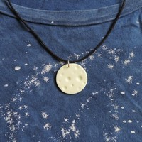 Glow in the Dark Full Moon Pendant Necklace