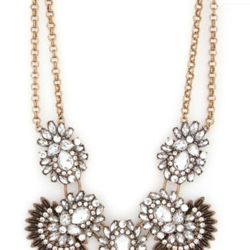 Retro Jeweled Fan Statement Necklace - Crystal – H.C.B.