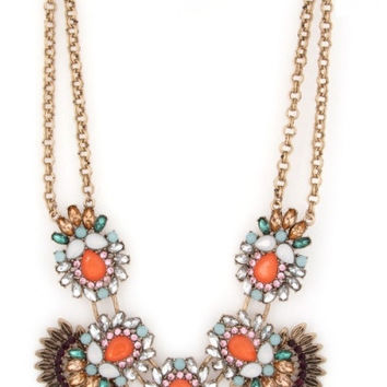 Retro Jeweled Fan Statement Necklace - Coral/Multi – H.C.B.