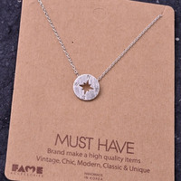 Dainty Compass Charm Necklace - Silver – H.C.B.