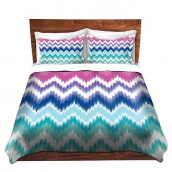 DiaNoche Designs Unique Decorative Designer Duvet Covers and Shams | Organic Saturation's Ombre Ikat Chevron