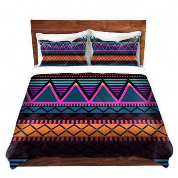 DiaNoche Designs Unique Decorative Designer Duvet Covers and Shams | Organic Saturation's Neon Modern Tribal