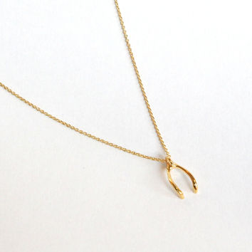Delicate Wishbone Necklace - Gold – H.C.B.