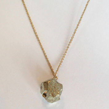 Long Druzy Nugget Necklace - Silver/Gold – H.C.B.