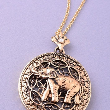 Long Elephant Looking Glass Pendant Necklace - Gold or Silver – H.C.B.
