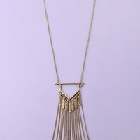 Long Triangle Tassel Chains Necklace - Antiqued Gold – H.C.B.