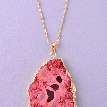 Druzy Open Stone Pendant Necklace - Red or Turquoise – H.C.B.