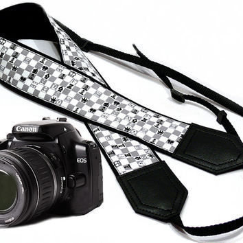 Chess camera strap. Game Camera strap. DSLR Camera Strap. Camera accessories. Nikon Canon camera strap.