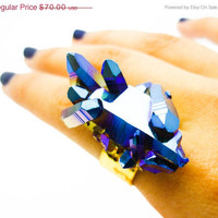 ON SALE - Titanium Quartz Cobalt Blue Rainbow Crystal Druzy Ring Aura Cluster