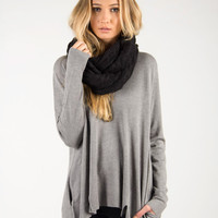 Simple Two Slit Long Sleeve Top - Gray /