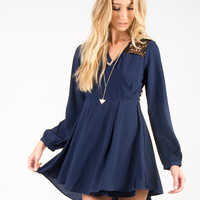 Open Sparkly Back Long Sleeve Dress - Navy /