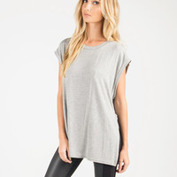 Side Slit Oversized Sleeveless Top - Gray - Gray /