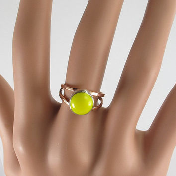 Round Bezel Band Copper Sterling Silver Yellow Fused Glass Ring