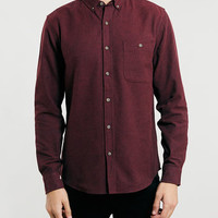 Burgundy Brushed Oxford flannel Shirt