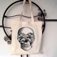 Floral Skull Screen Printed Tote Bag
