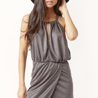 SUEDED HALTER DRESS