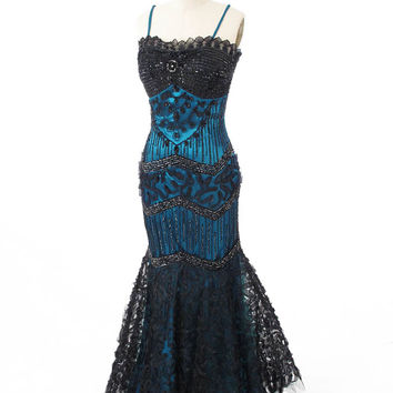 Deco Inspired Beaded Black Tulle over Teal Satin Mermaid Gown