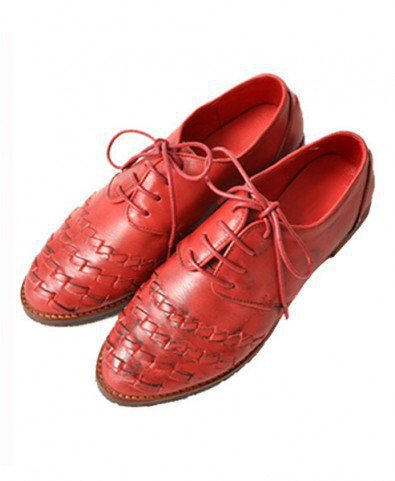 Retro Cambridge Woven Leather Flat Shoes