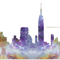 NYC Skyline Galaxy Universe Fine Art Print