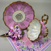Vintage Pink Teacup & Saucer Royal Sealy with Floral Hankie and Tussie Mussie Corsage Pin Gift Set