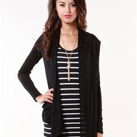 A'GACI Open Front Long Sleeve Cardigan - Sweaters + Cardigans