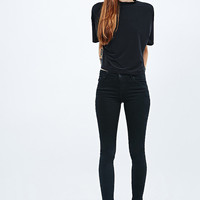 Light Before Dark Cropped Turtleneck Tee in Black - Urban Outfitters