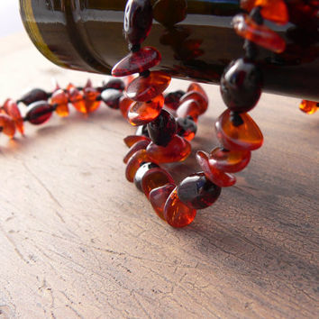 Sauvignon ~ Baltic Amber Necklace - 18 inches - Dark and Medium Cherry Baltic Amber