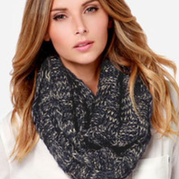 Squared Straight Navy Blue Infinity Scarf