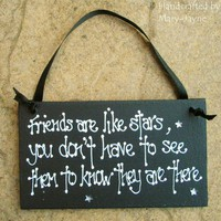 "Wooden Gift Plaque ""Friends Are Like Stars"" Best Friend Sign Birthday ""Star Gems Sparkle"""